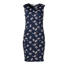 Dames stretch jurk marine met bloemen print, zm, kort