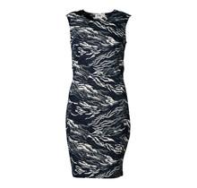 Dames stretch jurk marine marmer, zm, lang