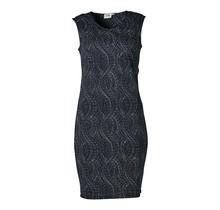 Dames stretch jurk marine golv, zm, lang