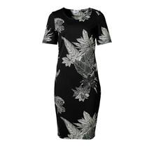 Dames milano jurk km lang Zwart/off white