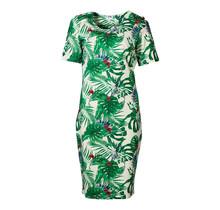 Dames milano jurk km groene bladeren - lang