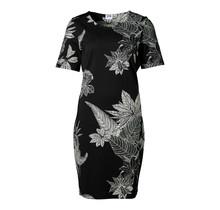 Dames milano jurk km zwart/off white - kort
