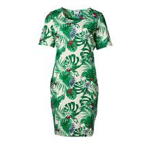 Dames milano jurk km kort Groene bladeren