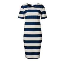 Dames jurk milano km marine/off white - lang