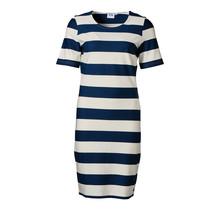 Dames jurk milano km marine/off white - kort