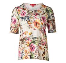 Dames shirt km, bloemenprint diverse kleuren