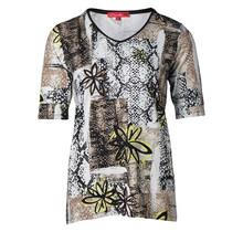 Dames shirt km, bloemenprint zwart taupe geel