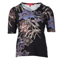Dames shirt km, bloemenprint op zwart