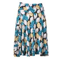 Dames tricot rok aqua bladeren met geel