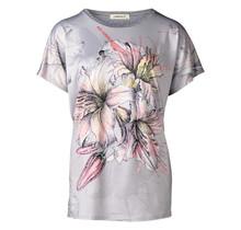 Dames shirt met bloem grijs