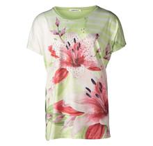 Dames shirt gestreept met bloem groen
