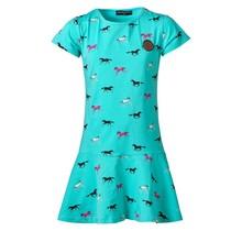 Meisjes jurk paarden turquoise