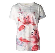 Dames shirt gestreept met bloem offwhite