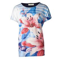 Dames shirt gestreept met bloem marine