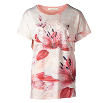 Dames shirt  gestreept met bloem roze