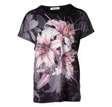 Dames shirt  met bloem zwart