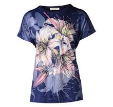 Dames shirt  met bloem marine