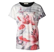 Dames shirt gestreept met bloem zwart