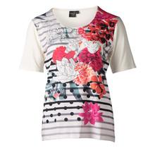 Dames shirt gestreept met bloem wit