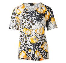 Dames shirt km, bloemenprint geel/zwart