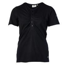Dames shirt zwart met knopen en plooitjes