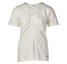 Dames shirt off white met knopen en plooitjes