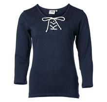 Dames shirt 3/4e mouw marine met touwtjes
