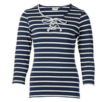 Dames shirt 3/4e mouw met touwtjes marine/off white