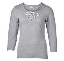 Dames shirt 3/4e mouw met touwtjes grijs