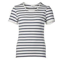 Dames shirt basic offwhite/marine gestreept, km