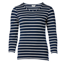 Dames shirt basic marine/offwhite gestreept, 3/4e mouw