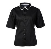 Dames blouse zwart, wit detail
