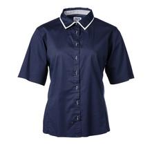 Dames blouse marine, wit detail