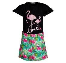 Meisjes set love flamingo zwart