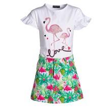 Meisjes set love flamingo wit