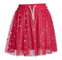 Meisjes rok tule rood stip