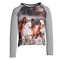 Meisjes trui paarden grijs