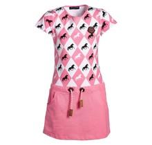 Meisjes jurk paarden/ruit roze