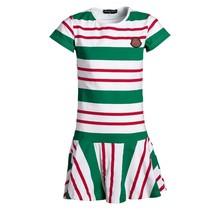 Meisjes jurk groen/rood gestreept