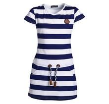 Meisjes jurk Marine witte streep