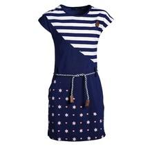Meisjes jurk dubbele print marine