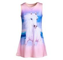Meisjes jurk paarden roze mouwloos