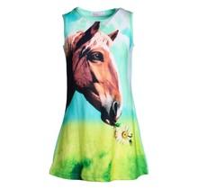 Meisjes shirt paarden blauw/groen mouwloos