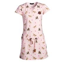 Meisjes jurk panter print lichtroze