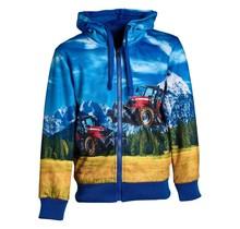 Jongens vest Blauw met tractor rood/wit