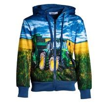 Jongens vest Blauw met tractor groen/geel