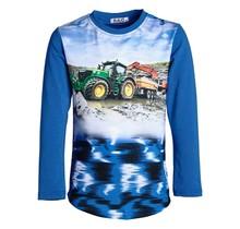 Jongens shirt blauw lange mouwen met tractor groen/geel