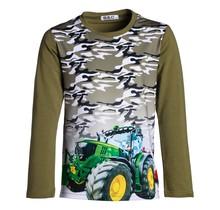 Jongens shirt donkergroen lange mouwen met tractor groen/geel