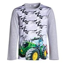 Jongens shirt grijs lange mouwen met tractor groen/geel