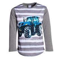 Jongens shirt grijs/streep lange mouwen met tractor blauw/geel